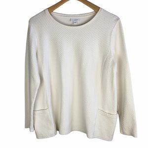 J.Jill Pure Jill Quilted Textured Pullover Large